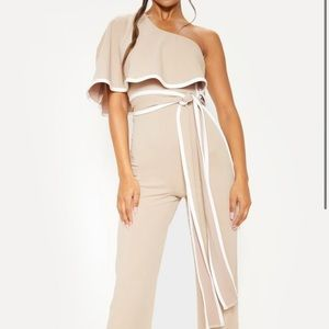 Stone One Shoulder Contrast Binding Jumpsuit